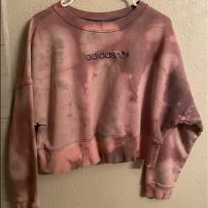 Custom Bleach Dyed Adidas crewneck